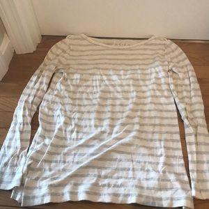 Long sleeve white and grey shirt